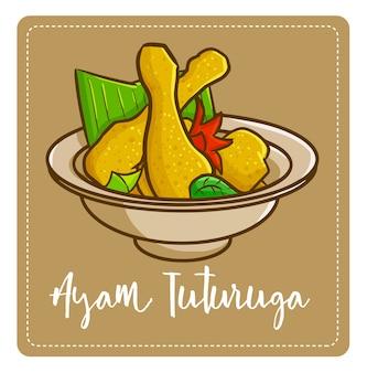 Симпатичная и вкусная «аям тутуруга», традиционное блюдо из манадо, восточная индонезия. сделано из курицы с таким количеством специй и имеет восхитительный вкус.