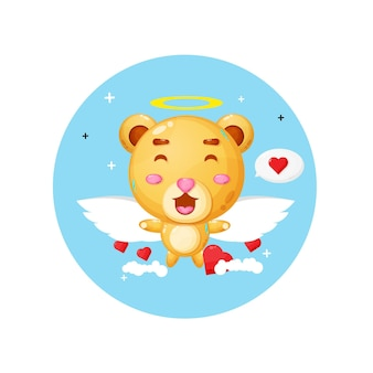 空を飛んでいるかわいい天使のクマ