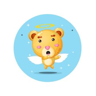 吹き替えポーズのかわいい天使のクマ