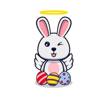 イースターの日のデザインアイコンイラストの装飾的な卵とかわいい天使のウサギ