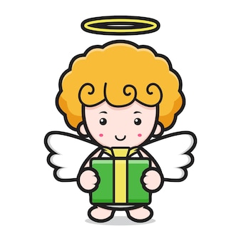 Cute angel cartoon character holding box gift