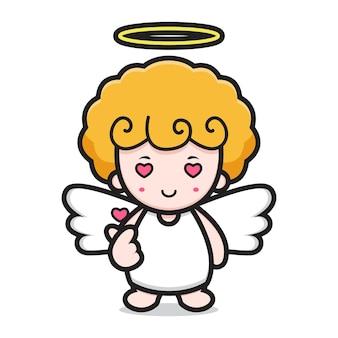 指の愛のポーズでかわいい天使のキャラクター。白い背景で隔離のデザイン