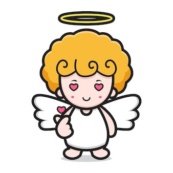 Cute angel character with finger love pose. design isolated on white background