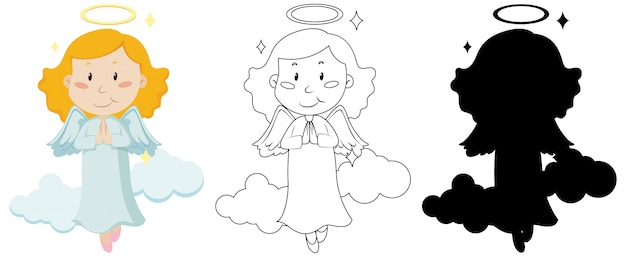 Cute angel in color and in outline and silhouette