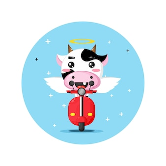 Cute angel cow riding classic motorbike