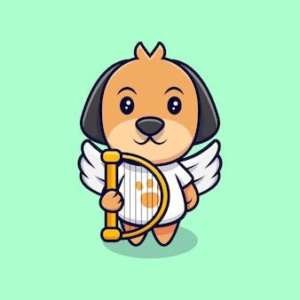 かわいい天使の犬の漫画アイコンイラスト。フラット漫画スタイル