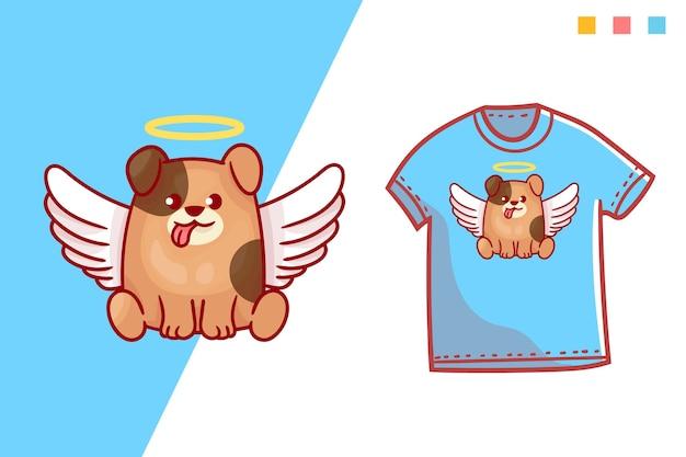 귀여운 천사 개 tshirt 템플릿 디자인