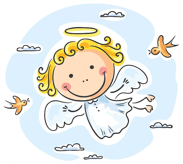 Cute angel flying with birds