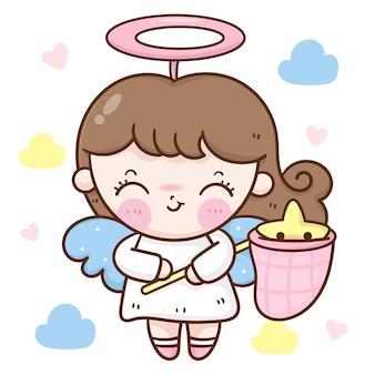 Cute angel girl cartoon catching star vector kawaii character