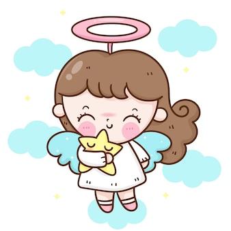 Cute angel girl cartoon hug star vector kawaii character