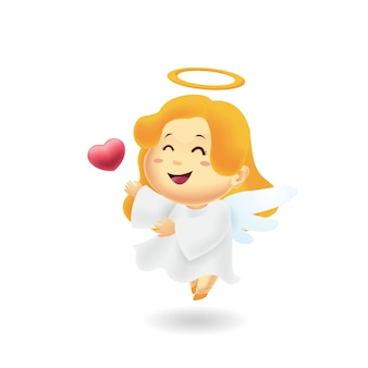 Cute angel giving a love heart in isolated background