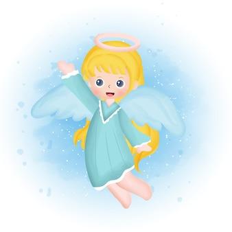 수채화 스타일의 귀여운 천사. 프리미엄 벡터