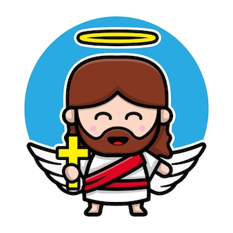 Cute angel jesus christ cartoon character