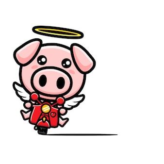 クラシックバイクに乗ってかわいい天使の豚