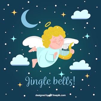 ハープを演奏するかわいい天使