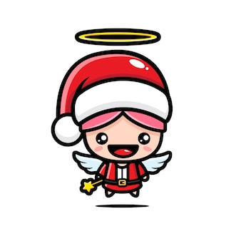 Cute angel in santa claus costume isolated on white