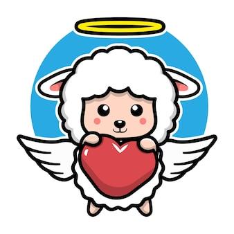 Cute angel sheep cartoon character  animal concept illustration