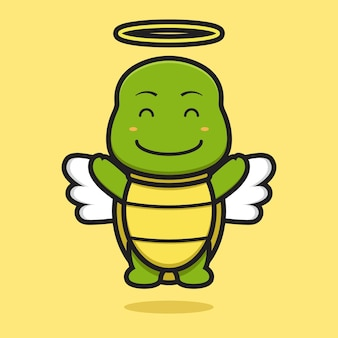 Cute angel turtle mascot character with happy face cartoon vector icon illustration. design isolated on yellow. flat cartoon style.