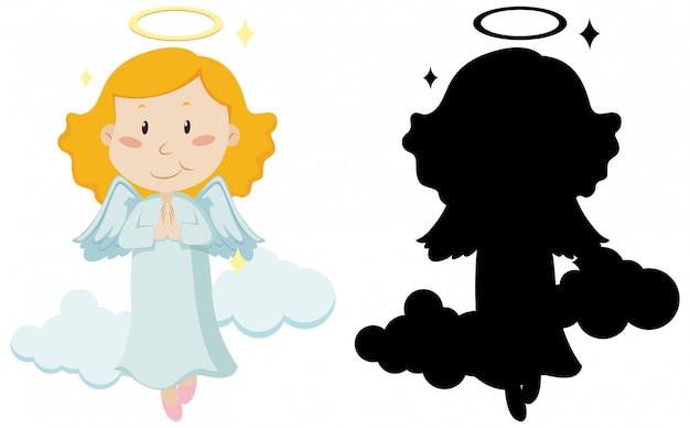 Cute angel with its silhouette