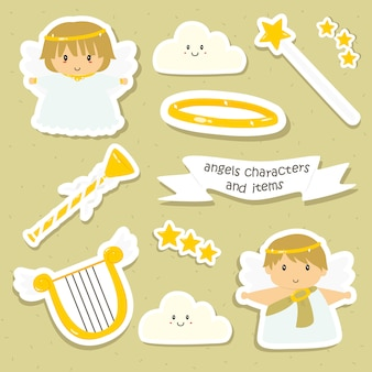 Cute angels characters vector collection