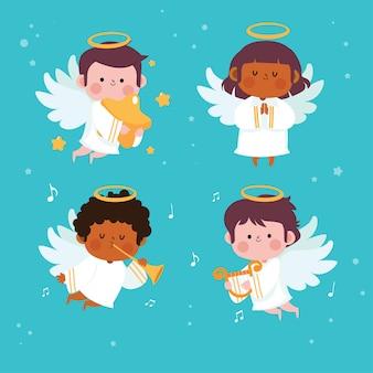 Симпатичные ангелы установить мультфильм