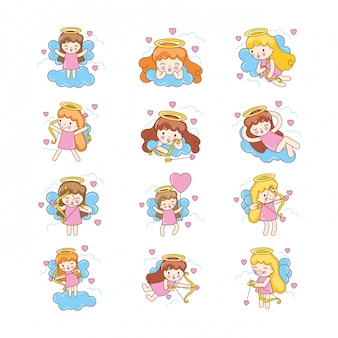 Cute angels set cartoon