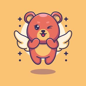 Cute angle bear flying