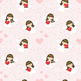 Cute angle and heart seamless pattern.