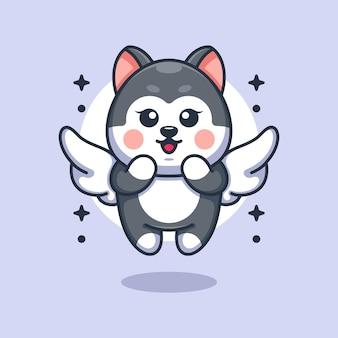 飛んでいるかわいい角度のハスキー犬