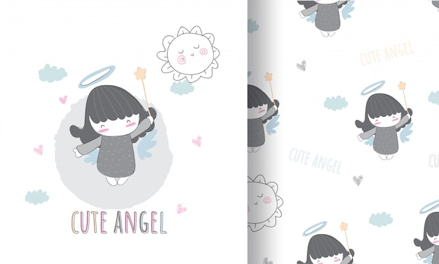 Cute angle illustration for kids with seamless pattern