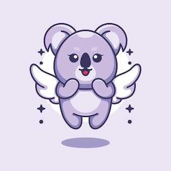 Cute angle koala flying