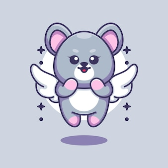 Cute angle mouse flying