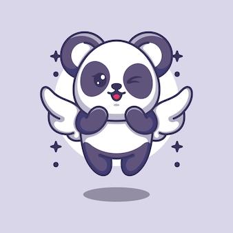 Cute angle panda flying