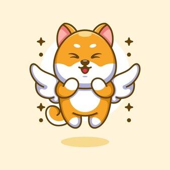 Cute angle shiba inu dog flying