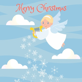 Cute angle on the sky for christmas greeting card.