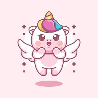 Cute angle unicorn flying