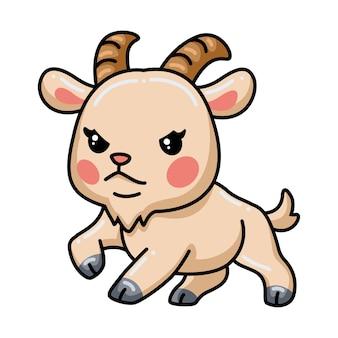 귀여운 화난 아기 염소 만화