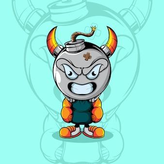 도시복을 입은 귀여운 화난 폭탄 캐릭터