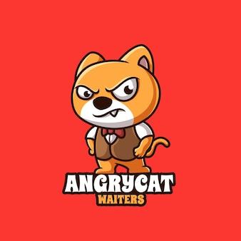 귀여운 화난 고양이 웨이터 만화 크리에이 티브 로고 디자인