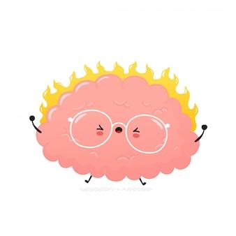 Милый злой человеческий мозг. дизайн значка иллюстрации персонажа из мультфильма. изолированный на белой предпосылке