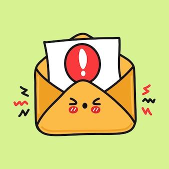 경고와 함께 귀여운 화난 편지 문자