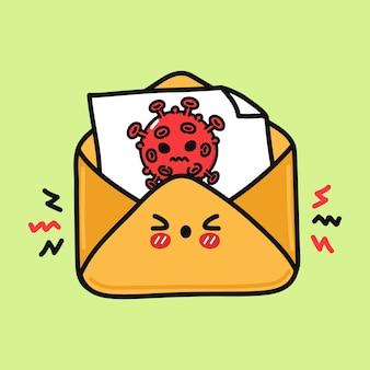 바이러스가 있는 귀여운 화난 문자 문자