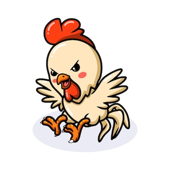 Cute angry little rooster cartoon