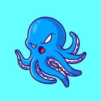 귀여운 화난 문어 만화 벡터 아이콘 그림입니다. 동물 자연 아이콘 개념 절연 프리미엄 벡터입니다. 플랫 만화 스타일