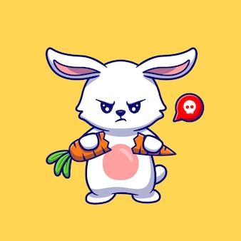 Симпатичный сердитый кролик перерыв морковь иллюстрации.