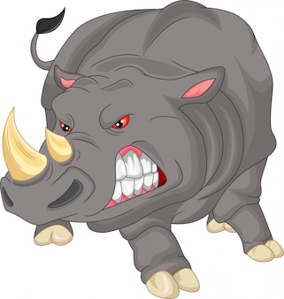 Cute angry rhino cartoon
