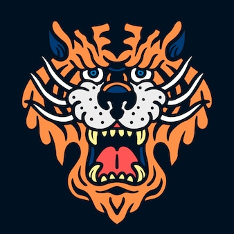 Cute angry tiger old school tattoo illustration