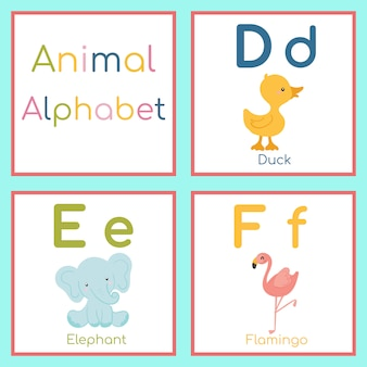Cute animal alphabet. d, e, f letter. duck, elephant, flamingo.