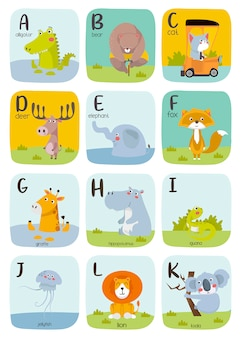 Cute animal alphabet illustration. alphabet printable flashcards collection with letter a to k.