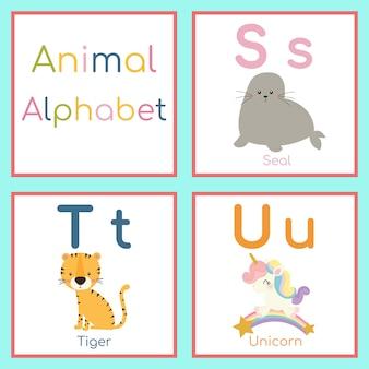 Cute animal alphabet. s, t, u letter. seal, tiger, unicorn.